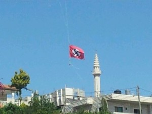 Nazi-flag-flying-over-Palestinian-mosque-300x225